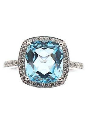 Cushion Cut Aquamarine Right Hand Fashion Ring with Diamond Halo Set in 18K White Gold