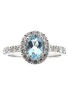 Aquamarine Oval Right Hand Fashion Ring with Diamond Halo in 18K White Gold