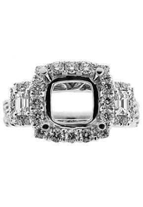 3 Stone Look Square Halo Twist Shank Diamond Semi Mount Engagement Ring 14kt White Gold