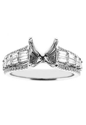 Baguettes and Round Diamonds Semi Mount Engagement Ring 18kt White Gold