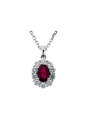 Ruby Pendant with Prong Set Diamond Rounds Halo in 18K White Gold