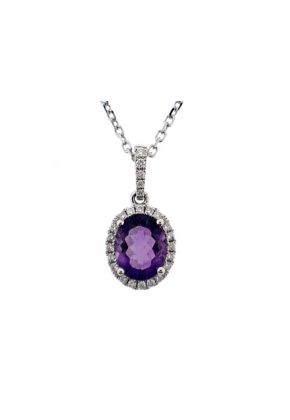 Oval Amethyst Pendant with Single Diamond Halo Set in 18K White Gold