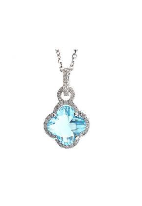 Clover Shaped Aquamarine Pendant with Single Diamond Halo Set in 18K White Gold
