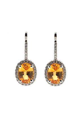 Yellow Topaz Hook Back Dangling Earrings with Diamond Halo in 18K White Gold