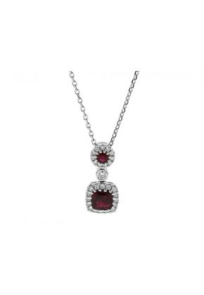 Dangling Ruby Necklace with Halos of Diamonds in 18k White Gold