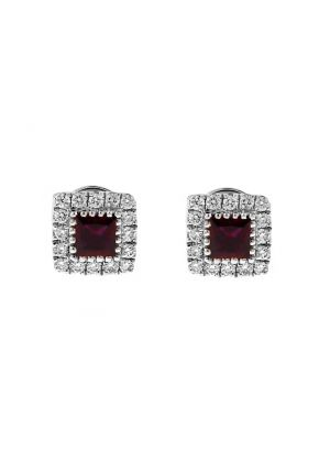 Square Ruby Stud Earrings with Halo of Diamonds in 18k White Gold