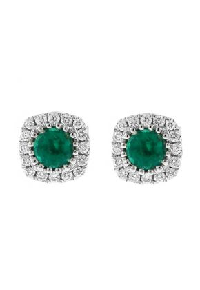 Emerald Stud Earrings with Halo of Diamonds in 18k White Gold