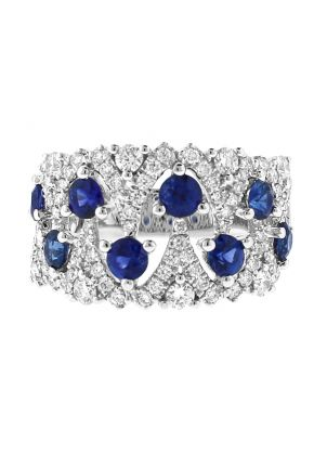 Sapphire Openwork Ring with Diamonds in 18k White Gold