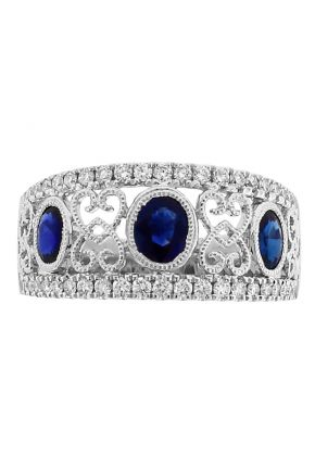 Sapphire Ring with Diamonds and Filigree Design in 18k White Gold