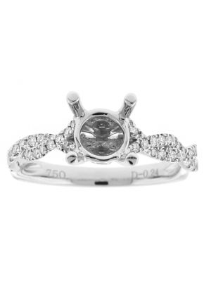 Semi Mount Twist Style Engagement Ring with Diamonds in 18k White Gold