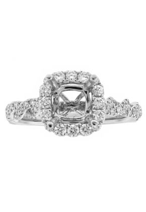 Semi Mount Twist Style Square Halo Engagement Ring with Diamonds in 18k White Gold