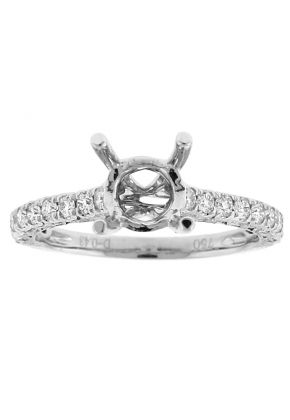 Semi Mount Engagement Ring with Single Row of Diamonds in 18k White Gold