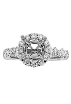 Semi Mount Round Halo Twist Style Engagement Ring with Diamonds in 18k White Gold