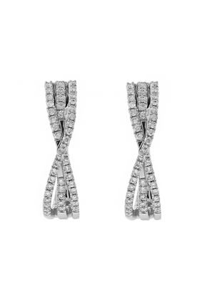 Crossover Style Huggie Earrings with Diamonds in 18k White Gold