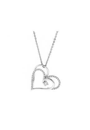 Intertwined Hearts Pendant with Diamonds in 18k White Gold