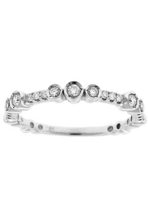 Wedding / Anniversary Band with Abstract Bezel Set Diamonds in 18k White Gold