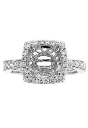 Square Halo Semi Mount Engagement Ring with Graduating Diamonds in 18k White Gold