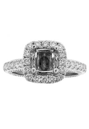 Semi Mount Square Halo Engagement Ring with Diamonds in 18k White Gold