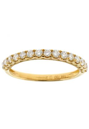 e Row Wedding / Anniversary Band with Scallop Design Between Diamonds in 18k Yellow Gold