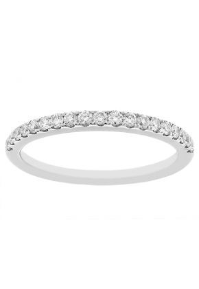 Single Row Wedding / Anniversary Band with Diamonds in 18k White Gold