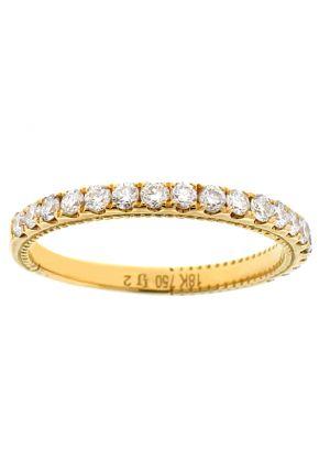 Single Row Wedding / Anniversary Band with Diamonds in 18k Yellow Gold