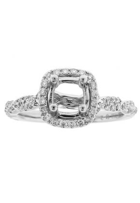 Semi Mount Square Halo Twist Shank Engagement Ring with Diamonds in 18k White Gold