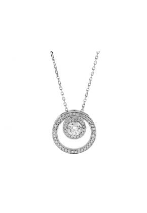 Double Circle Pendant with Diamonds in 18k White Gold
