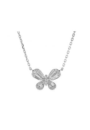 Butterfly Necklace with Round and Baguette Diamonds in 18k White Gold