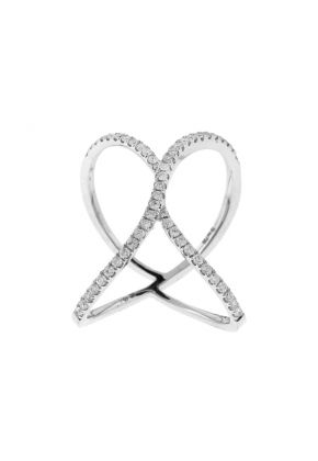 Crossover X Statement Ring with Diamonds in 18k White Gold