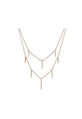 Double Layer Necklace with Vertical Bars of Diamonds in 14k Rose Gold
