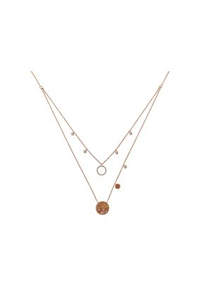 Double Layer Necklace with Burnish, Bezel, and Prong Set Diamonds in 14k Rose Gold