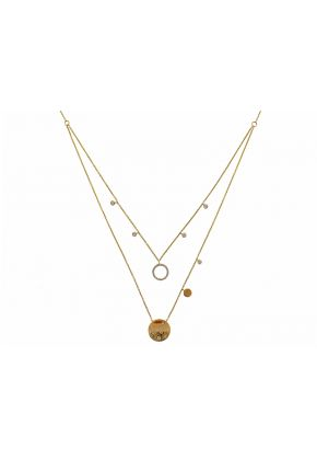 Double Layer Necklace with Burnish, Bezel, and Prong Set Diamonds in 14k Yellow Gold