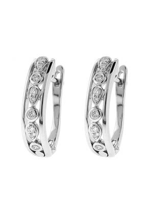 Openwork Diamond Earrings [Huggies] in 14k White Gold - Round and Pear Pattern