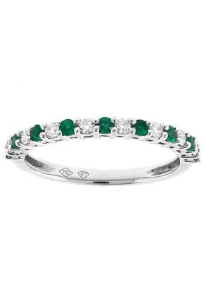 Emerald and Diamond Band - Gemstone Ring in 18k White Gold