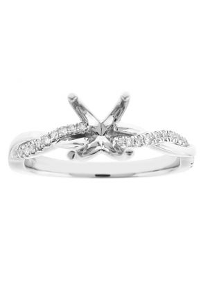 Twist Shank Diamond Engagement Ring in 18k White Gold - Semi Mount