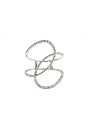 Open Abstract Ring 25mm at the Widest Diamond Ring in 18kt White Gold