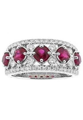 5 Stone Ruby and Diamond Right Hand Fashion Ring in 18k White Gold