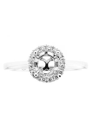 Semi-Mount Solitaire Style Engagement Ring with Halo of Diamonds in 18k White Gold