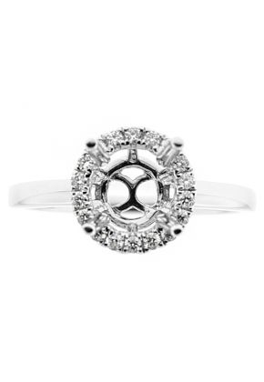 Semi-Mount Solitaire Style Engagement Ring with Round Halo of Diamonds in 18k White Gold