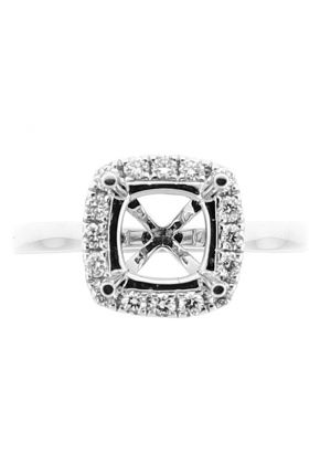 Semi Mount Square Halo Solitaire Style Engagement Ring with Diamonds in 18k White Gold