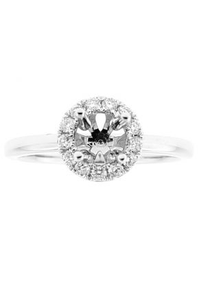 Semi Mount Round Halo Solitaire Style Engagement Ring with Diamonds in 18k White Gold