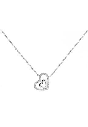 Tilted Double Heart Pendant with Diamonds in 18k White Gold