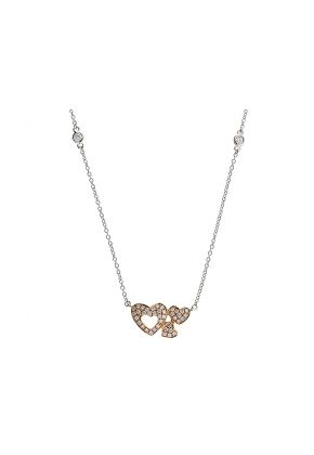 Two Tone Triple Heart Pendant with Diamonds in 18k Rose Gold and White Gold