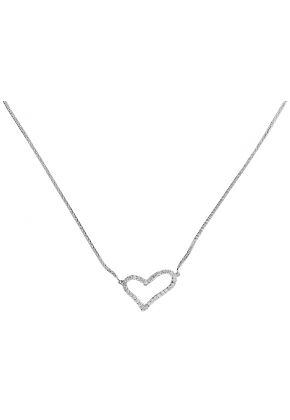 Tilted Heart Necklace with Diamonds in 18k White Gold