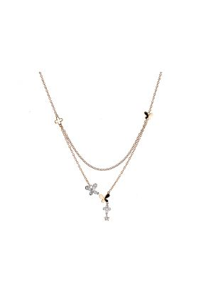 Multi Shape Necklace with Diamonds in 18k Rose Gold