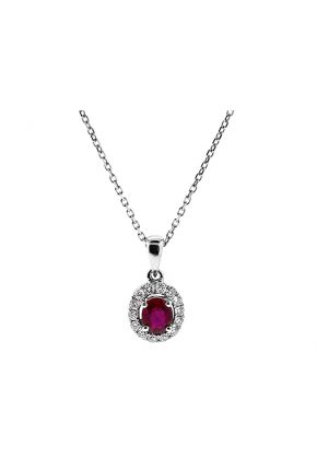 Oval Ruby Pendant with Halo of Diamonds in 18k White Gold