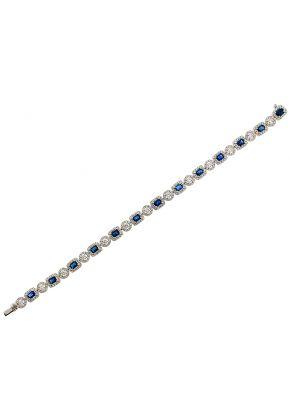 Sapphire Tennis Bracelet with Halos of Diamonds in 18k White Gold
