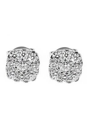 Square Cluster Stud Earrings with Diamonds in 18k White Gold