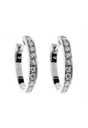 Hoop Earrings with Diamonds in 18k White Gold