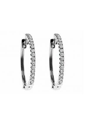 One inch Diameter Diamond Hoop Earrings in 18kt White Gold